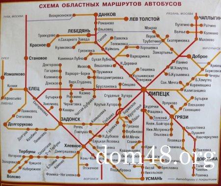 Схема областных автобусных маршрутов по Липецкой области
