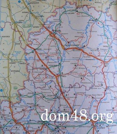 Карта автомобильных дорог в Липецкой области